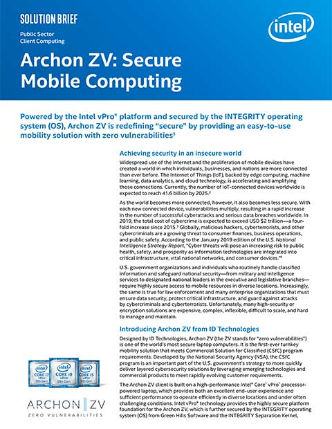 Archon ZV Secure Mobile Computing Solution Brief 2020